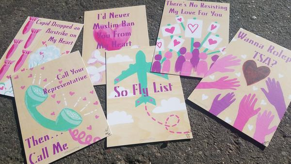 Valentine's Day cards created by artist and activist Tanzila Ahmed tackle Islamophobia with snark and humor.