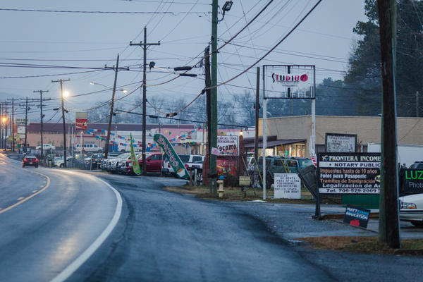 Along this road are several businesses in Dalton, Ga., that cater to the town's large Hispanic population. As many as 4,000 DACA recipients live in Dalton, and many work in the carpet industry.