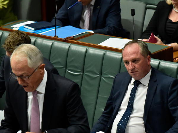 Barnaby Joyce, the Deputy Prime Minister, seated at the right, and Prime Minister Malcolm Turnbull during Question Time on Wednesday in Canberra, Australia.