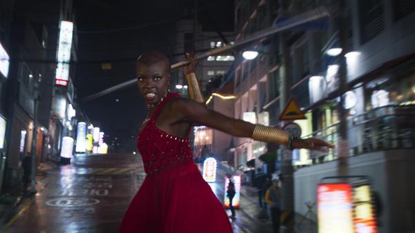 Danai Gurira as Okoye in <em>Black Panther</em>.
