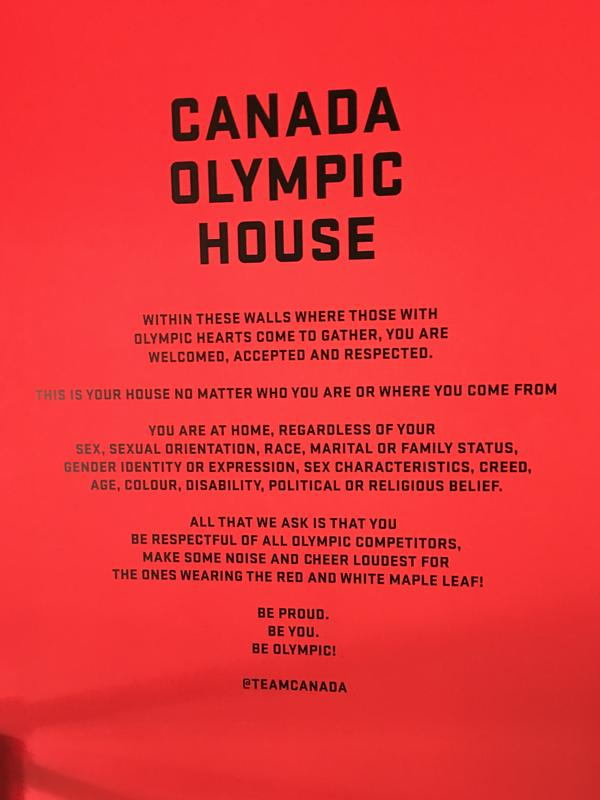 "A wall in the foyer of Canada House greets visitors: ""This is your house no matter who you are or where you come from."""
