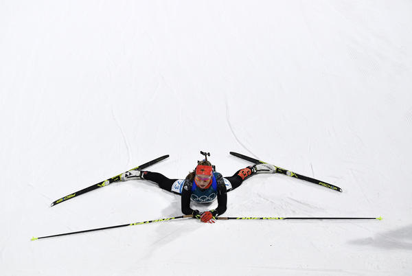 Franziska Preuss of Germany competes in the women's 15-kilometer individual biathlon on Thursday.