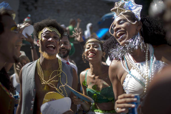 Revelers celebrate during the Carnival street parade of the <em>Bloco das Carmelitas</em> in the Santa Teresa neighborhood in Rio de Janeiro, Brazil, last week.