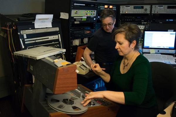 """Fresh Air"" executive producer Danny Miller and Chief Engineer Audrey Bentham. (Paige Pfleger/WHYY)"