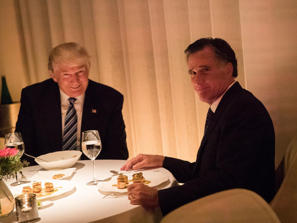 President-elect Donald Trump and Mitt Romney dine at Jean Georges restaurant, on Nov. 29, 2016 in New York City.