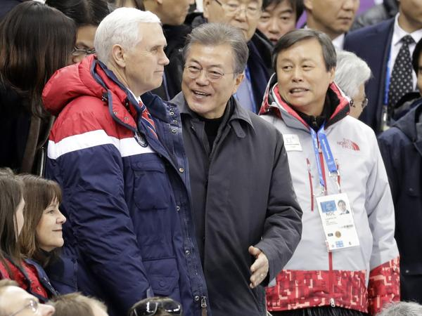 Vice President Pence and South Korean President Moon Jae-in at the Gangneung Ice Arena at the 2018 Winter Olympics in Gangneung, South Korea, on Feb. 10.