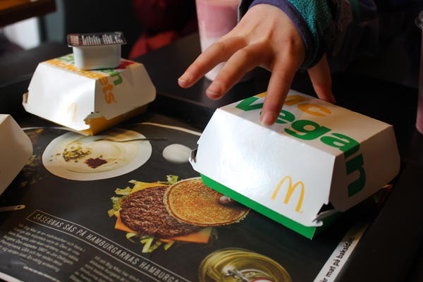 "Our reporter deemed the McVegan ""good."" She also recruited her kids to taste test it. Their reviews: ""very tolerable,"" ""OK"" and ""in the middle."""