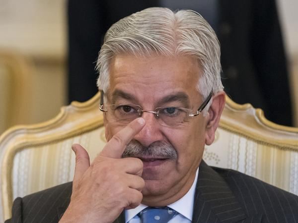 Pakistan's Foreign Minister Khawaja Asif during a meeting with Russian Foreign Minister Lavrov in Moscow Tuesday.