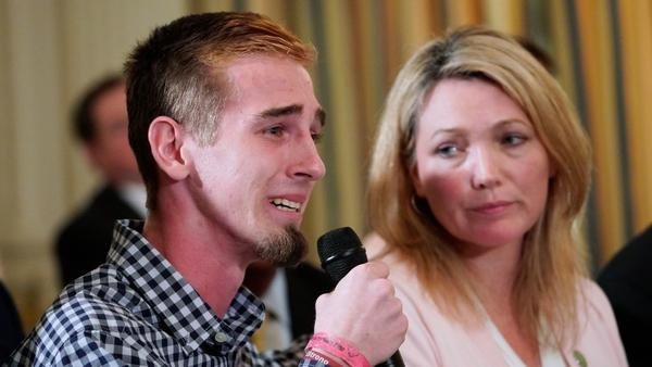 Marjory Stoneman Douglas High School shooting survivor Samuel Zeif speaks during a listening session on school safety with President Trump as Nicole Hockley, parent of a Sandy Hook shooting victim, looks on.