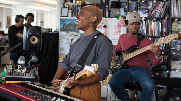 Vagabon performs a Tiny Desk Concert on Jan. 31, 2018 (Jenna Sterner/NPR).