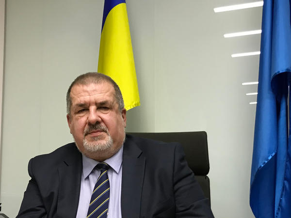 Refat Chubarov, the head of the Crimean Tatars' representative body the Mejlis, in his office in the Ukrainian capital Kiev, last month. He cannot return to Crimea, and the Mejlis has been banned by the Russian authorities.