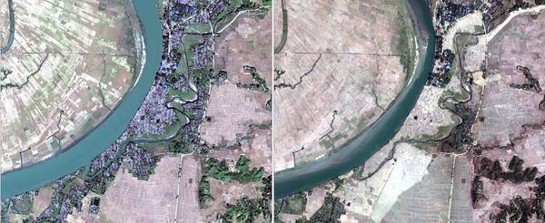 This composite image shows two satellite photographs of the same predominantly Rohingya village, Myar Zin, taken two months apart. The image on the left shows the village as it was on Dec. 2, and the one on the right shows it on Feb. 5, apparently leveled by Myanmar authorities in the intervening span.