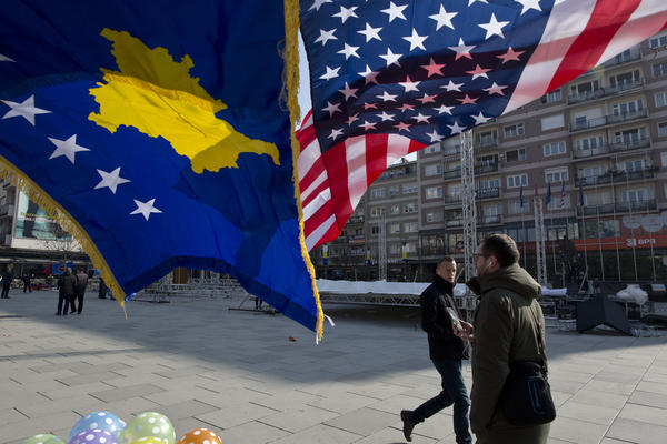 Kosovo and U.S. flags decorate the main square in Pristina, Kosovo, on Feb. 17, on the 10th anniversary of the country's independence from Serbia.