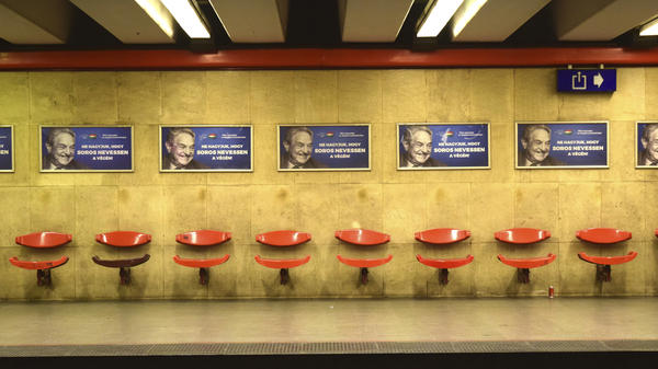 Advertisement in a metro station in Budapest in July. The Hungarian government said it would end its disputed ad campaign against Hungarian-American billionaire George Soros.