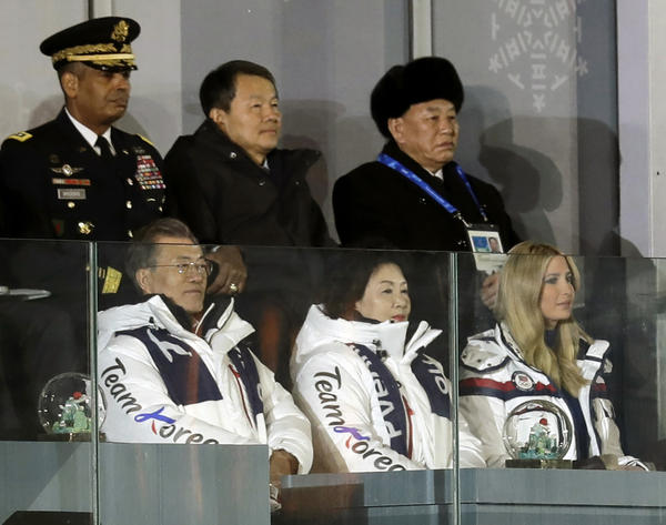 Kim Yong Chol, vice chairman of North Korea's ruling Workers' Party Central Committee (back right) watches the closing ceremony of the 2018 Winter Olympics with South Korean President Moon Jae-in (left), Moon's wife Kim Jung-sook, and Ivanka Trump.