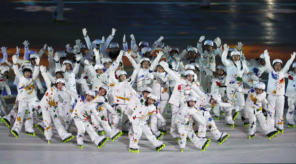Children perform on roller blades at the beginning of the closing ceremony for the Pyeongchang 2018 Winter Olympics.