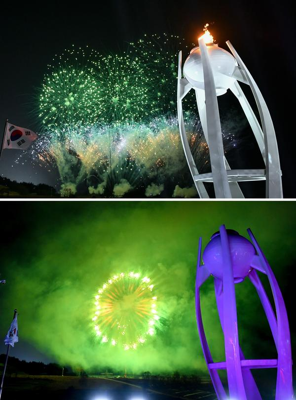 The Olympic flame of the 2018 Winter Olympics is extinguished amid fireworks at the closing ceremony. The next Winter Games will be held in 2022 in Beijing.
