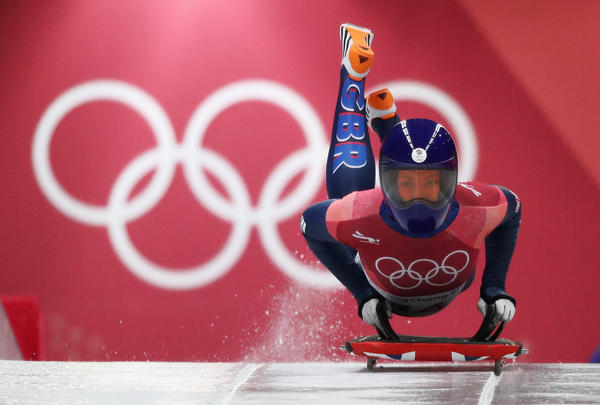 Lizzy Yarnold of Great Britain takes part in the women's skeleton final run on Feb. 17. She won gold — and became the first woman to win two Olympic medals in the sport. She won her first at the Sochi Games in 2014.