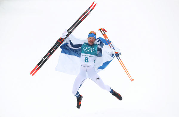 Cross-country skier Iivo Niskanen of Finland celebrates winning the men's 50-kilometer mass start classic race on Feb. 24. His was Finland's first gold medal of the Pyeongchang Games.