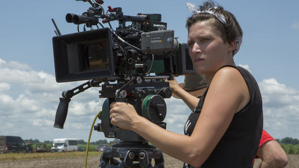 Rachel Morrison on set for <em>Mudbound</em>.