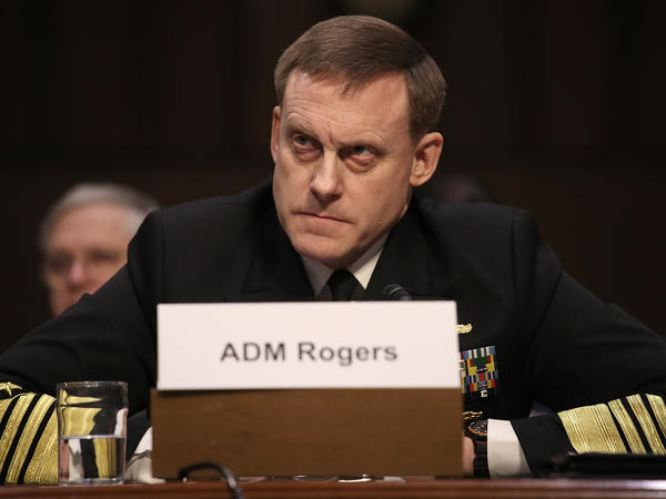 Adm. Michael Rogers, chief of the U.S. Cyber Command and director of the National Security Agency, testifies before the Senate Armed Services Committee on Tuesday.