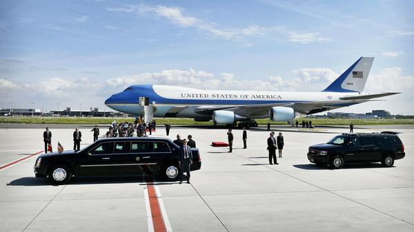 The Air Force One plane transporting President Trump and first lady Melania Trump arrives at the Melsbroek military airport in Steenokkerzeel, Belgium, on May 24, 2017, the eve of the NATO summit.