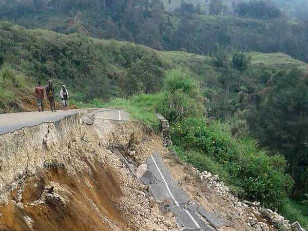 Damage to a road near Mendi in Papua New Guinea's highlands region, is shown on Feb. 27.