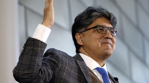 Sherman Alexie speaks at a celebration of Indigenous Peoples' Day at Seattle's City Hall in 2016.