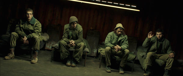 The Israeli film <em>Foxtrot</em> is a searing critique of a society stuck in perpetual war. (Left to right: Gefen Barkai, Shaul Amir, Dekel Adin and Yonatan Shiray.)