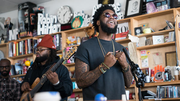 Big K.R.I.T. performs a Tiny Desk Concert on Feb. 8, 2018 (Jenna Sterner/NPR).