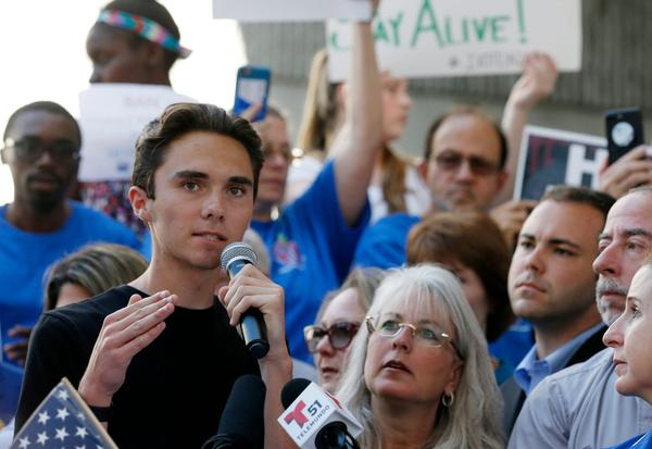 Marjory Stoneman Douglas High School student David Hogg speaks at a rally for gun control at the Broward County Federal Courthouse on Feb. 17, 2018 in Fort Lauderdale, Fla. (Rhona Wise/AFP/Getty Images)