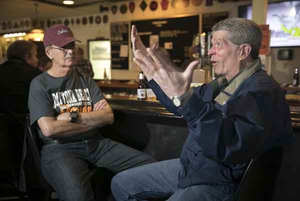 Veterans discuss the state of politics in Pennsylvania at American Legion Post 175 in Washington, Penn., on Feb 28.