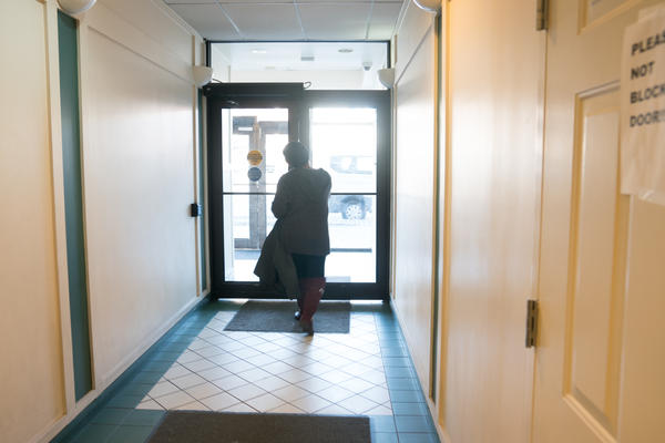Pauletta Jackson walks out of the medical building after seeing Dr. Chapman.