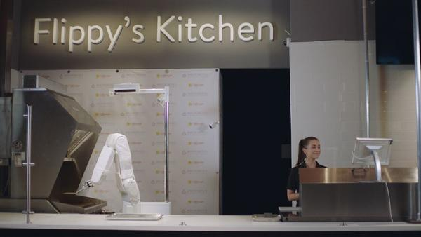 """""""Flippy,"""" a burger-grilling robot developed by Miso Robotics, is now operating at a Caliburger in Pasadena."""