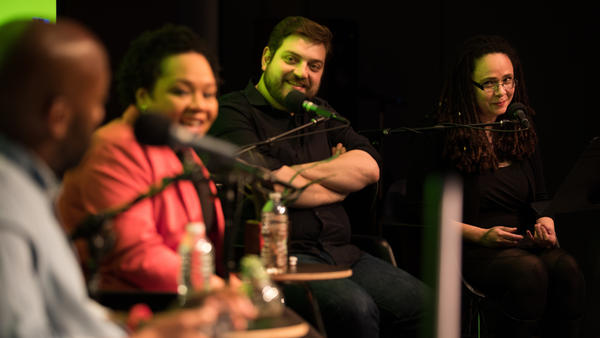 Korva Coleman (right) guest-hosts the first live-taping <em>It's Been a Minute with Sam Sanders</em> on February 22, 2018.