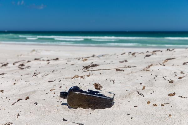 The message in a bottle was discovered on the beach at Wedge Island, Australia.