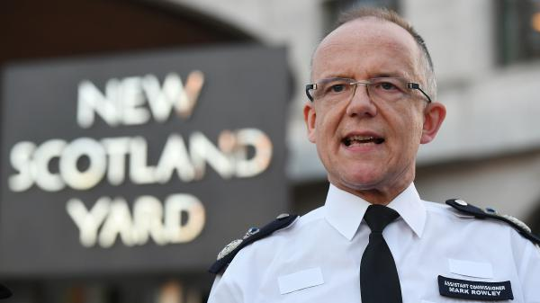 Assistant Commissioner Mark Rowley gives a statement on Wednesday in Salisbury, England. Sergei Skripal, who was granted refuge in the U.K. following a prisoner swap between the U.S. and Russia in 2010, and his daughter remain critically ill after being exposed to an unknown substance now believed to have been a nerve agent.