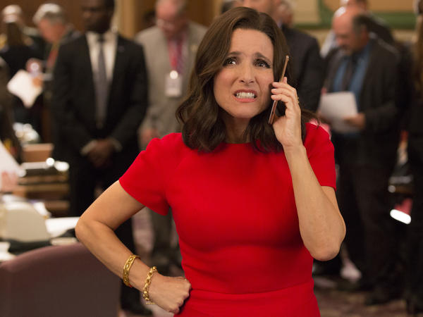 Julia Louis-Dreyfus as the gaffe-prone Selina Meyer in <em>Veep</em>.