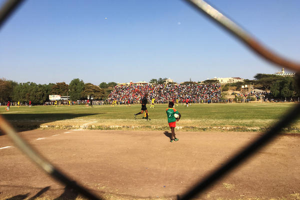 Ethiopian teams Adama City and Welwalo Adigrat University play in a soccer match. Stadiums have become battlefields and teams have become a proxy for the political divisions in the country.