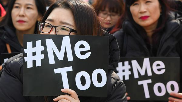 South Korean demonstrators rally in Seoul on Thursday for the #MeToo movement, which has gradually gained ground in in the socially conservative country.