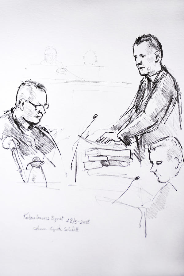 This court drawing depicts Peter Madsen (left) and prosecutor Jakob Buch-Jepsen as the trial opened Copenhagen on Thursday.
