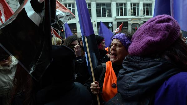 Picketers flooded a clothing store in Madrid during a one-day strike to defend women's rights on Thursday. The walkout called by unions asked women not to spend money and to ditch their domestic chores for the day.
