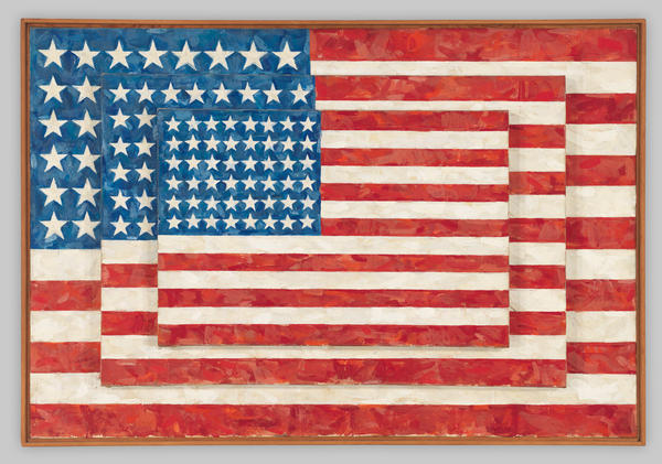 "Jasper Johns, ""Three Flags"" from 1958."