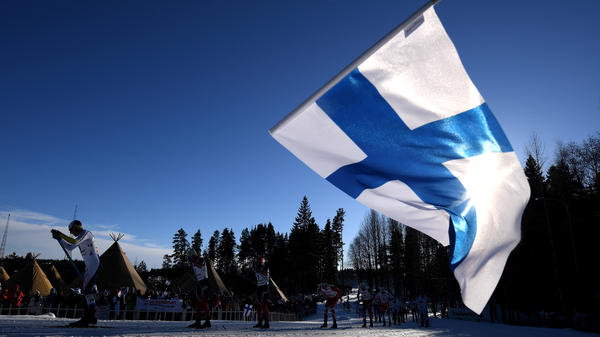 A fan waves the Finnish flag during the Nordic World Ski Championships last year. Finland is No. 1 on the annual World Happiness Report, released Wednesday.