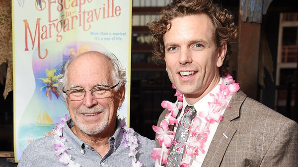 Jimmy Buffett and actor Paul Alexander Nolan at the <em>Escape To Margaritaville</em> send-off party in New York City in Sept. 2017.