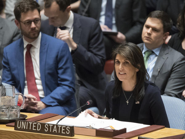 U.S. Ambassador to the United Nations Nikki Haley speaks during a Security Council meeting on the situation between Britain and Russia, on Wednesday.
