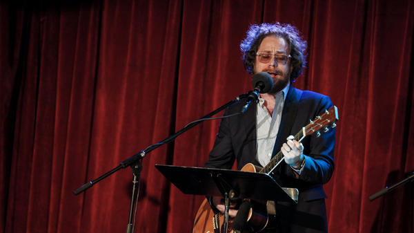 Ask Me Another house musician Jonathan Coulton performs at the Bell House in Brooklyn, New York.