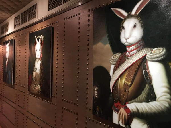 Portraits of rabbits are displayed at White Rabbit restaurant in Moscow. Through his cuisine, Mukhin aims to celebrate and elevate classic Russian flavors, as well as use ingredients from Russian farms.