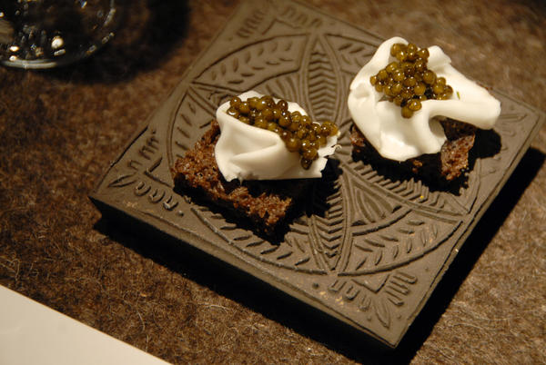 Caviar on homemade black bread.