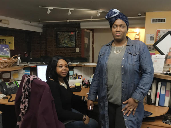 "Youma Nafo (left), the receptionist and food pantry coordinator at African Services Committee, was born in France, but she traces her origins back to Mali, where her parents were born. Halimatou Konte, the organization's health testing center coordinator, says she plans to write in ""Senegalese"" for her origins."